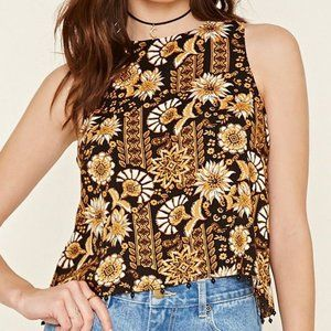 Black & Gold Ornate Print Tulip-Back Crop Top